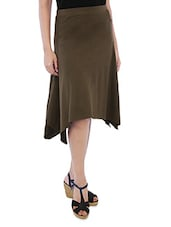 Solid Brown Cotton Spandex Flare Skirt - By
