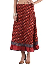 Maroon Printed Cotton Long Skirt - By