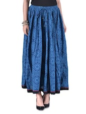 Blue Cotton Block Print Skirt - By