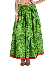 Green Printed Gathered Cotton Long Skirt - By