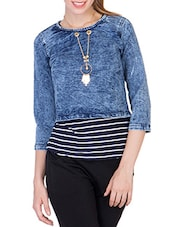 blue denim crop top with striped inner and locket -  online shopping for Tops