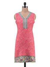Red Cotton Printed Kurta - By