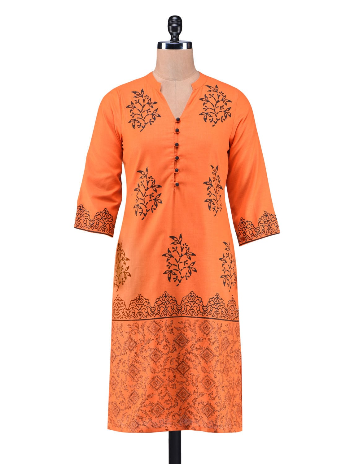 Orange Cotton Printed Kurta available at Limeroad for Rs.699