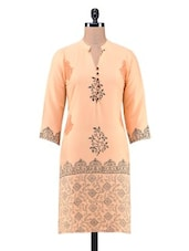 White Poly Crepe Printed Kurta - By