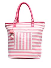Pink yarn dyed striped canvas tote bag -  online shopping for Totes