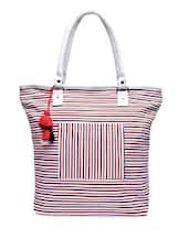 Red Yarn Dyed Striped Canvas Tote Bag - By