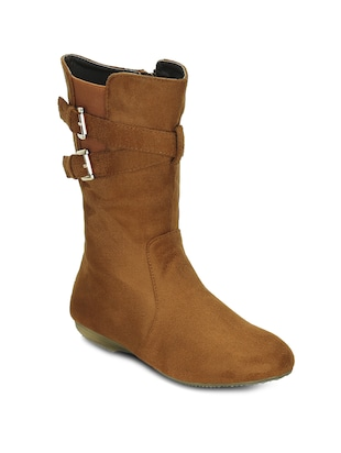brown suede calf boot
