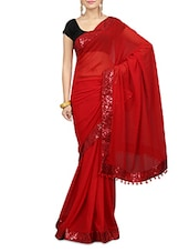 Solid Red Georgette Saree With Sequined Border - By