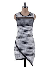 White And Black Cotton Spandex Printed Dress - By