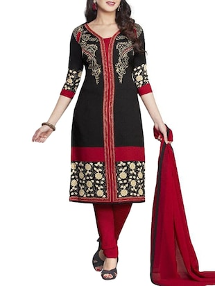 black crepe churidaar suits unstitched suit
