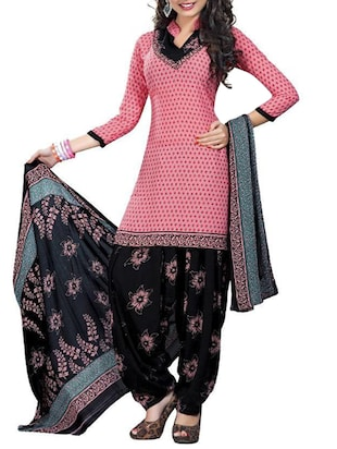 pink synthetic crepe unstitched suit