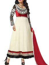 White Embroidered Georgette Anarkali Suit Set - By