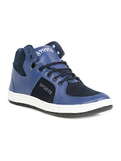 blue fabric & synthetic lace up sneakers -  online shopping for Sneakers