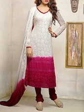 Pink And White Embroidered Georgette Suit Set - By