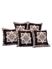 Brown Printed Polyester Set Of 5 Cushion Cover - By