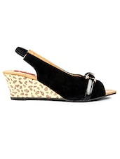Black Leatherette Wedges - By