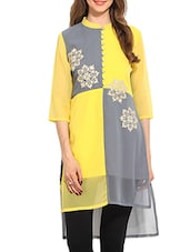 yellow polyester straight kurti -  online shopping for kurtis