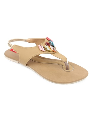 Beige leatherette flat sandals