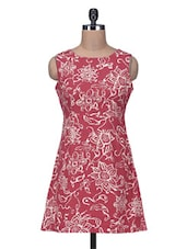 Maroon Floral Printed Cotton Mini Dress - By