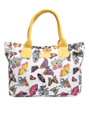 White butterfly print cotton canvas handbag