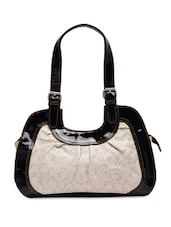 White Faux Leather Printed Handbag - By