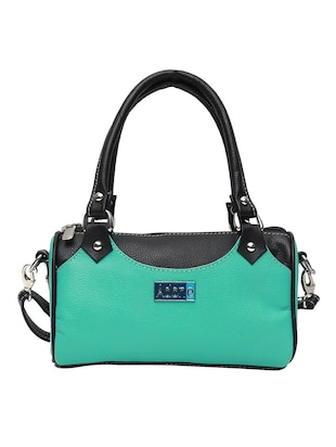 Blue leather handbag with sling -  online shopping for handbags
