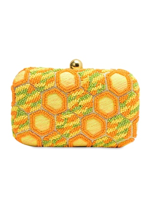 yellow Silk, Metal Alloy Clutch