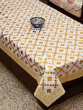 Azalea Prestige 4 Seater Table Cover , Gold On White , Pack Of 1 - By