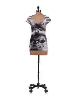 White Printed Top With Stripes - Allen Solly