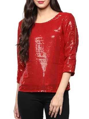 red sequined georgette regular top