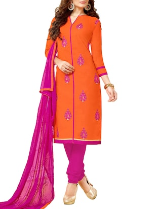 orange cotton unstitched suit