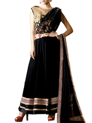 black georgette unstitched suit