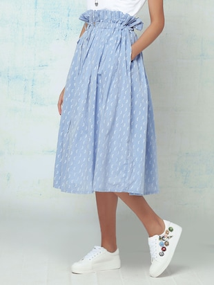 blue cotton pleated skirts