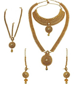 gold bridal metal necklace set