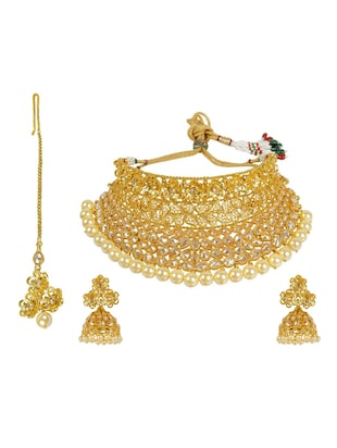 Gold metal bridal necklace and earring set