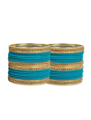 Blue plated metal punjabi bangle (set of 44)
