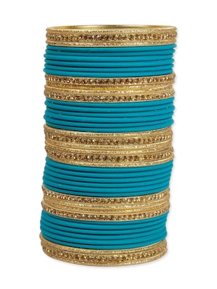 Blue metal punjabi wedding bangle (set of 44)