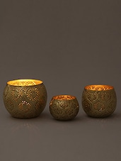 Brown Moroccan Iron Tea Light Holder - Set Of Three - By