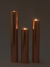 Brown Pillar Copper Steel Tea Light Holder - Set Of Three - By