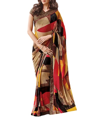multi colored printed saree