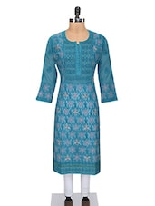 Blue Cotton Chikankari Kurta - By