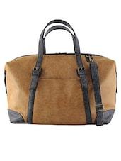 Tan Distressed Leatherette Weekender Bag - By