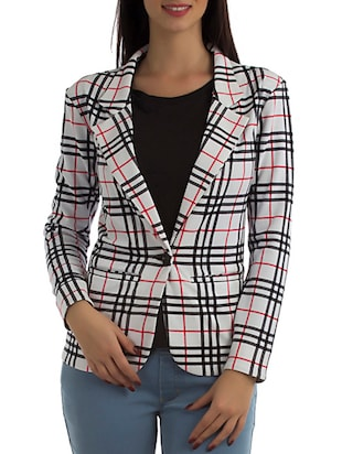 white plaid formal blazer
