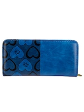 Blue And Black Faux Leather Clutch - By