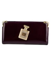 Violet Leatherette Embellished Clutch - By