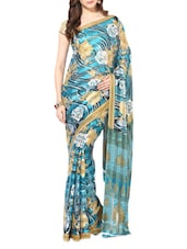 Blue Printed Chiffon Saree - By