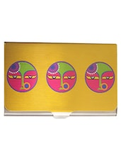 Yellow Printed Steel Visiting Card Holder - By