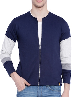 blue cotton casual jacket