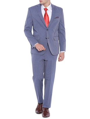 blue cotton formal blazer