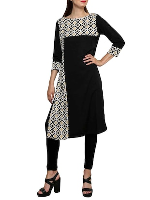 black poly crepe printed straight kurta